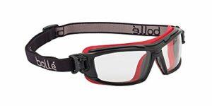 Bolle Safety Ultim8 Ultimate Lunettes de protection avec verres transparents, Noir/rouge, transparent, taille unique