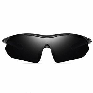 Bradoner Lunettes de soleil pour activités de plein air, cyclisme, sports en polycarbonate UV400 Noir/bleu/gris