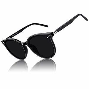 CGID Designer Lunettes de soleil polarisées rondes surdimensionnées pour femmes Lunettes de vue rétro pour femmes 100% UV400 Nuances Noir Cadre Gris Lentille M60