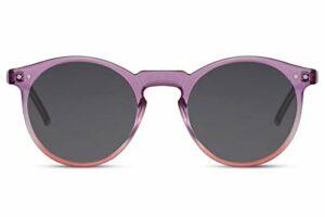 Cheapass Lunettes de soleil Monture Ronde Violet-Rose-Rouge Transparente avec Verres Foncés Protection UV400 Vintage Hommes Femmes