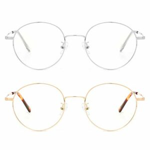 Cyxus Blocage de la lumière bleue [Lunettes anti-fatigue oculaire],Lunettes de lecture rétro à verres transparents, hommes/femmes (Pack de 2 Dorés et Argentés)