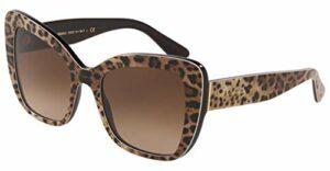 Dolce & Gabbana 0DG4348 Lunettes de Soleil, Leo Brown on Black, 54 Femme
