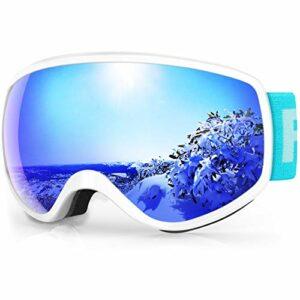 findway Masque de Ski Enfant 3 à 8 Ans – Lunettes de Ski Enfant Masuqe Ski pour Garçon et Fille Anti-UV Antibuée Compatible avec Casque pour Ski Snowboard Sports (Lentille Bleu (VLT 7.29%))