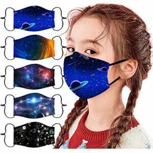Générique 5PC Visage_Masque Unisexe Enfants Bandana de Visage imprimé Planet/sous-Marin étanche à la poussière Lavable réutilisable en Plein air Tissu,Polyester (V)
