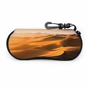 Gses Case, Sand Dunes Gobi Desert Mongolia Lunettes De Soleil Étui Souple Étui Ultra Léger en Néoprène Zipper Eyegs avec Mousqueton, Étui Lunettes De Soleil pour Hommes
