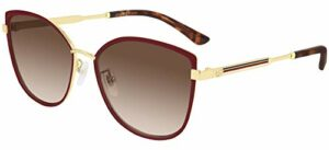 Gucci Lunettes de Soleil GG0589SK Red/Brown Shaded 57/16/150 femme