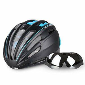 HKRSTSXJ Casque de vélo Lunettes intégré avec des Lunettes Hommes et Femmes vélo Mountain Equipment vélo Ultra léger Casque (Color : Blanc, Size : Lens+Colorful Lens)