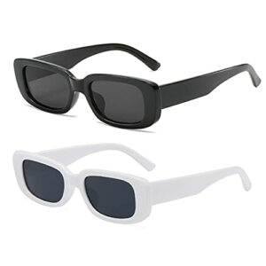 Long Keeper Lunettes de Soleil Rectangulaires Protection UV400 Lunettes de Conduite Rétro pour les Femmes (Noir+Blanc Noir)