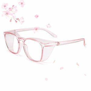 Lunettes de sécurité surdimensionnées avec protections latérales, anti-buée, anti-pulvérisation et anti-poussière, grand cadre, lunettes de sécurité anti-rayons bleus et UV pour le travail – Rose