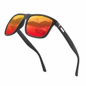 Lunettes de soleil polarisées pour hommes et femmes; cadres vintage/classiques/élégants; objectifs haute définition; golf/conduite/pêche/sports de plein air/lunettes de soleil tendance (Rouge【1】)