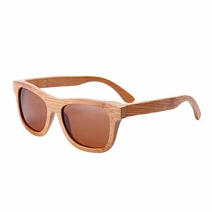 lzndeal Bois Lunettes de soleil en bambou lunettes de soleil polarisées Lunettes de protection avec une boîte pour Femmes Hommes (Brun Foncé sans Boîte)