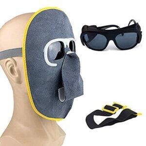 «N/A» Masque de soudage avec Lunettes et Bandeau Amovibles, Yeux Anti-éblouissement, Lunettes de Soudeur(Color:Lunettes Grises)