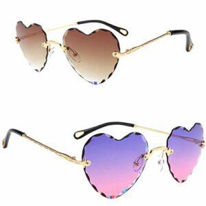 P Prettyia 2 Pièces Vintage Gradient Heart Lenses Lunettes de Soleil Sans Monture pour Femme Girls Heart – Protection UV Eyewear