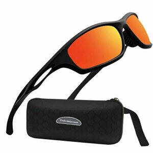 Perfectmiaoxuan Lunettes de soleil polarisées pour hommes femmes/Cool Fishing Golf Cyclisme Le golf Conduite Pêche Escalade Ancien Lunettes Sports de plein air des lunettes de soleil (B/red)