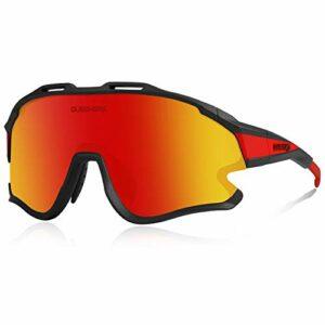 Queshark Lunettes de Cyclisme MTB Vélo TR90 Cadre Sports pour Hommes Femmes avec 1 Polarisées 3 HD Lentilles Interchangeables Anti-UV400 QE0051