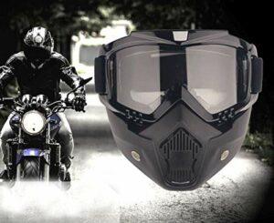 YIQI Masque de Motocross à Lunettes de Protection détachables et Filtre au Niveau de la Bouche, pour Casques de Style Vintage (Verres Gris)