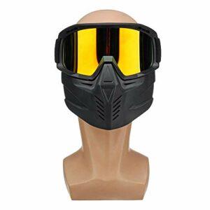 Ys-s Personnalisation de la Boutique Masque détachable Ski de Ski Lunettes de Ski exposés Visage Demi-Casque Vintage Mototage Motocross à vélo extérieur (Color : Red)