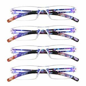 4 paires de lunettes de lecture, lunettes de blocage de lumière bleue, lunettes de lecture d'ordinateur pour femmes et hommes, monture de lunettes de mode rectangulaire (4 Fleur bleue, 2.50)