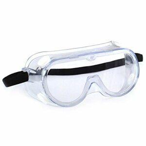 Anti-impact Anti-éclaboussures chimiques Lunettes de sécurité Lentille claire économique Protection des yeux Lunettes de laboratoire de poussière Écran de soudage