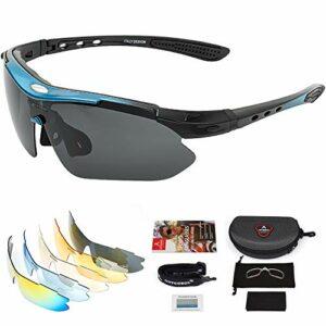 arteesol Lunettes de vélo de protection UV400 avec 5 verres interchangeables – Lunettes de sport polarisées pour cyclisme, pêche, course, escalade, golf