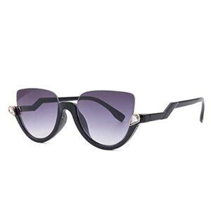 BABOON Lunettes de soleil tendance pour femme – Avec filtre de lumière bleue – Rétro – Protection UV400 – Noir – Noir ,