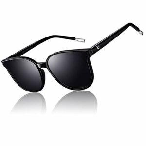 CGID Mode lunettes de soleil polarisées rondes surdimensionnées pour femmes Retro Ladies Eyewear 100% UV400 Shades Noir Cadre Gris Lentille M58