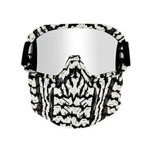 CHQY Masque de Protection de Casque Hors Route extérieur (Amovible), Lunettes de Pare-Brise Anti-ultraviolets rétro, utilisée pour Le Costume de Ski de Paintball extérieu G