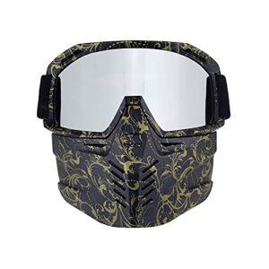 CHQY Masque de protection pour casque tout-terrain (amovible), anti-ultraviolet, rétro, pour le paintball, le ski, etc