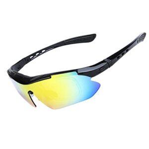 EJKDF Lunettes de Soleil à vélo de Sport à vélo, pour Hommes et Femmes, équipée de 5 lentilles interchangeables Protection UV, adaptée à la Conduite d'équitation de la pêc 2