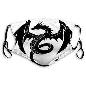 fishappleeatall Masque facial lavable unisexe réglable anti-poussière dragon mythique