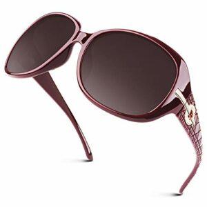 GQUEEN Lunettes de soleil polarisées surdimensionnées pour femme Protection UV400 Style vintage tendance