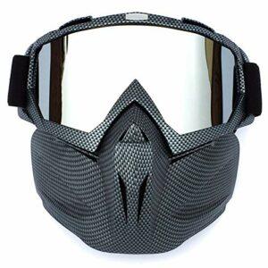 HCMAX Lunettes de Moto Masque Facial Détachable Casque Anti-buée Coupe-Vent Verres de Vélo pour Le Dessert Hors Route Équitation Courses Convient aux Hommes Femmes