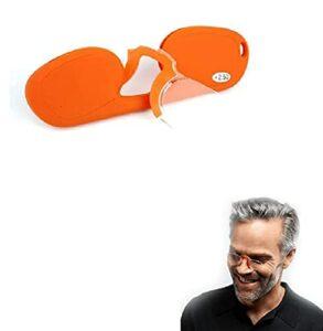 Hengyuan Lunettes de lecture portables Mini pince-nez pour hommes et femmes, lunettes sans cadre élégantes avec étui de poche cadeau de fête des pères (+3.0,Orange)