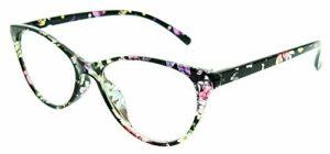 Lunettes chat femelle – femme – yeux de chat – oeil de chat – vintage – élégant – femelle – fille – rétro – mode – papillon – lentille transparente – monture fantaisie fleurs multi – idée cadeau