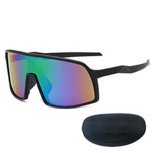 Lunettes de Cyclisme de Sport, Conception Unisexe de Jante Noire avec boîte, Respirant et Confortable Sunglasses HD, Randonnée en Plein air Golf Black