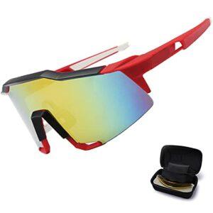 Lunettes de Cyclisme polarisées, Design Unisexe avec 3 lentilles Box, Respirant de Lunettes de Soleil HD Confortables et sécurisées, de randonnée en Plein air Pêche Red/Black
