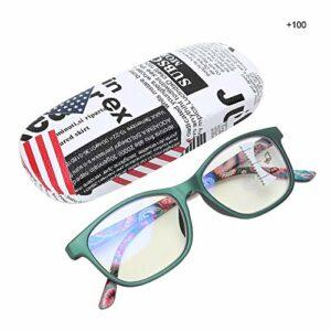 Lunettes de lecture Anti-rayons bleus, lunettes presbytes multifocales de soulagement de la fatigue visuelle pour hommes femmes avec boîte de rangement(+100-vert)