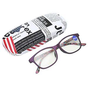 Lunettes de lecture Anti-rayons bleus, lunettes presbytes multifocales de soulagement de la fatigue visuelle pour hommes femmes avec boîte de rangement(+200-violet)
