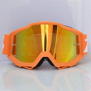 Lunettes De Moto Goggles de motocross lunettes de monteur de la route de la route Bike Casques de moto Goggles Ski Sport Lunettes Vélo Montagne Vélo Vélo Lunette Moto Vintage (Color : Orange)