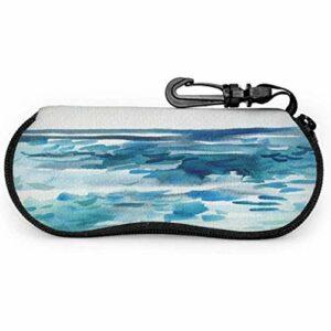 lymknumb Blue Sea Weave Peinture Art Case Lunettes Lunettes De Protection ÉtuiNéoprène Zipper Étui Souple Femmes Étui À Lunettes De Soleil