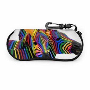 lymknumb Étui à lunettes, deux couleurs de zèbre arc-en-ciel, étui souple en néoprène ultra léger avec fermeture éclair avec mousqueton, étui pour lunettes de soleil pour femme