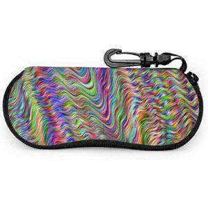 lymknumb Papier peint psychédélique coloré prismatique portable étui à lunettes étui à lunettes mince étui à glissière étui souple lunettes de soleil pour hommes