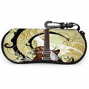 lymknumb Rétro Musique Guitare À Pois Vintage Enfant Lunettes Étui Voyage Lunettes de Soleil ÉtuiNéoprène Zipper Étui Souple Étui À Lunettes Femmes
