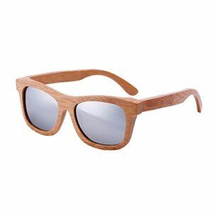 lzndeal Bois Lunettes de soleil en bambou lunettes de soleil polarisées Lunettes de protection avec une boîte pour Femmes Hommes (Argent sans Boîte)