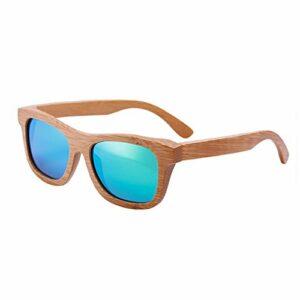 lzndeal Bois Lunettes de soleil en bambou lunettes de soleil polarisées Lunettes de protection avec une boîte pour Femmes Hommes (Vert sans Boîte)
