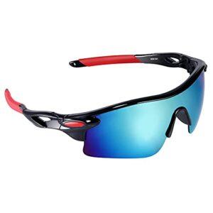 Mantimes Lunettes de protection tendance pour cyclisme, pêche, conduite, sports en plein air (rouge/bleu)