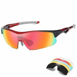 Mantimes Lunettes de soleil de sport polarisées avec 5 verres interchangeables Protection UV400 Lunettes de soleil de sport pour cyclisme, course à pied Rouge