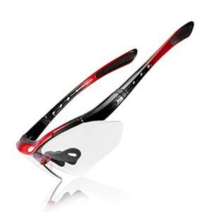 Mantimes Lunettes de soleil photochromiques pour sports de plein air Protection UV 400 Cyclisme Monture TR90 Lunettes de ski Lunettes pour conduite, course, escalade, pêche, baseball (Rouge)
