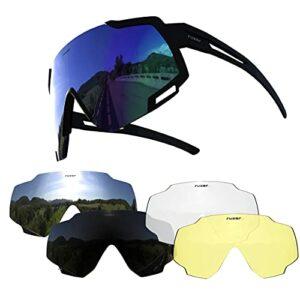 Mantimes Lunettes de soleil polarisées réfléchissantes avec 5 verres interchangeables avec protection UV 400 pour VTT, hybride, course, vélo de route (cadre noir)