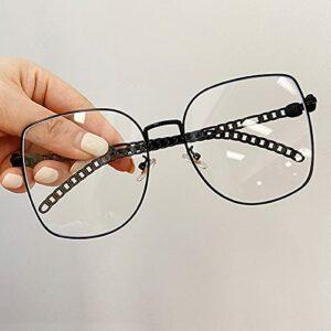PPuujia Chaîne de lunettes chic pour femme – Style vintage – Doré et argenté – Anti-lumière bleue – Couleur de la monture : noir transparent